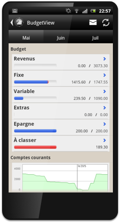 Application de gestion de comptes pour Android